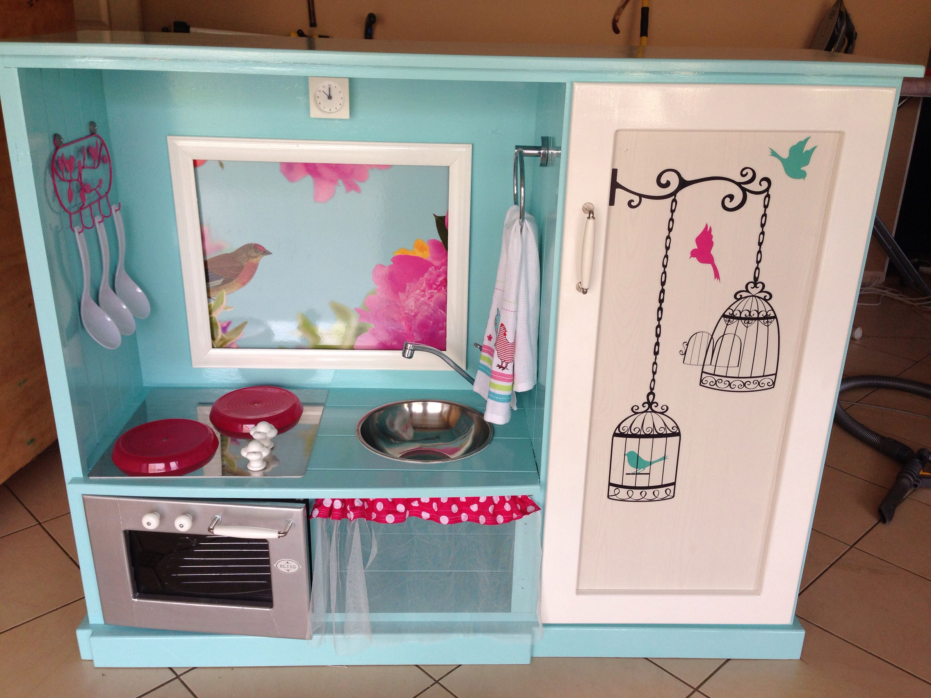Upcycled tv cabinet donated to the kindy. Play kitchen built to last ...