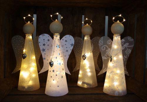 Bastelanleitung + Material f. beleuchteten Engel Lichterkette basteln Bastelset #weihnachtsdekoglas