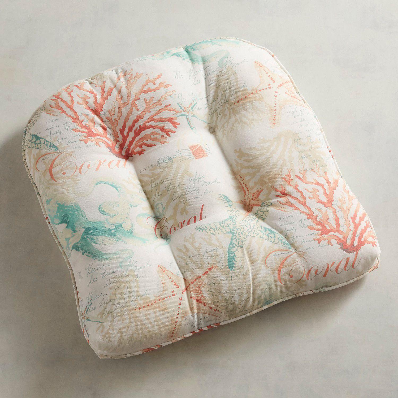 Tufted Standard Contour Chair Cushion In Windborne Print Chair Cushions Outdoor Chair Cushions Chair