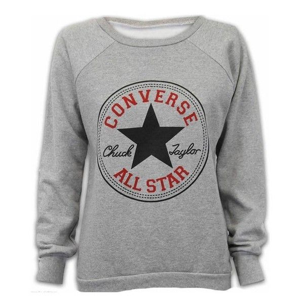 NEW LADIES WOMENS CONVERSE ALL STAR PRINT SWEATSHIRT JUMPER TOP 8-14... (€9,34) ❤ liked on Polyvore featuring tops, hoodies, sweatshirts, converse sweatshirt, print tops, print sweatshirt, grey sweatshirt and gray top