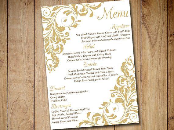 Diy Wedding Menu Template Instant Printable Jenna Gold Flourish 5x7 Card Entree