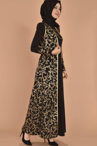 4d3baf5eb7c9b modamerve - Gold Aplikli Jileli Elbise İkili Takım Siyah AKG 12051 (1)