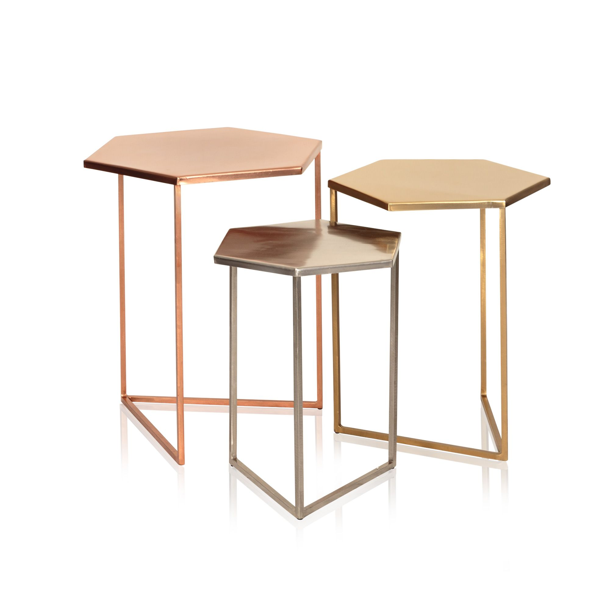 Buy The Set Of Three Hexagon Metallic Nesting Tables At Oliver Bonas. We  Deliver Homeware