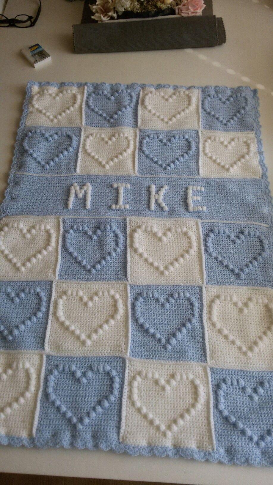 Babydekentje Bobblestitch Met Naam Háčkování Pinterest Crochet