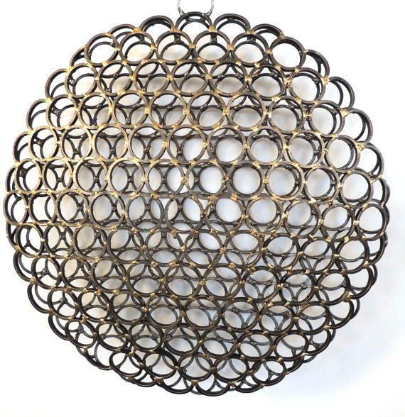Round 3-D Wall Art, Industrial Wall Art, Sliced Pipe Hanging Metal Sculpture