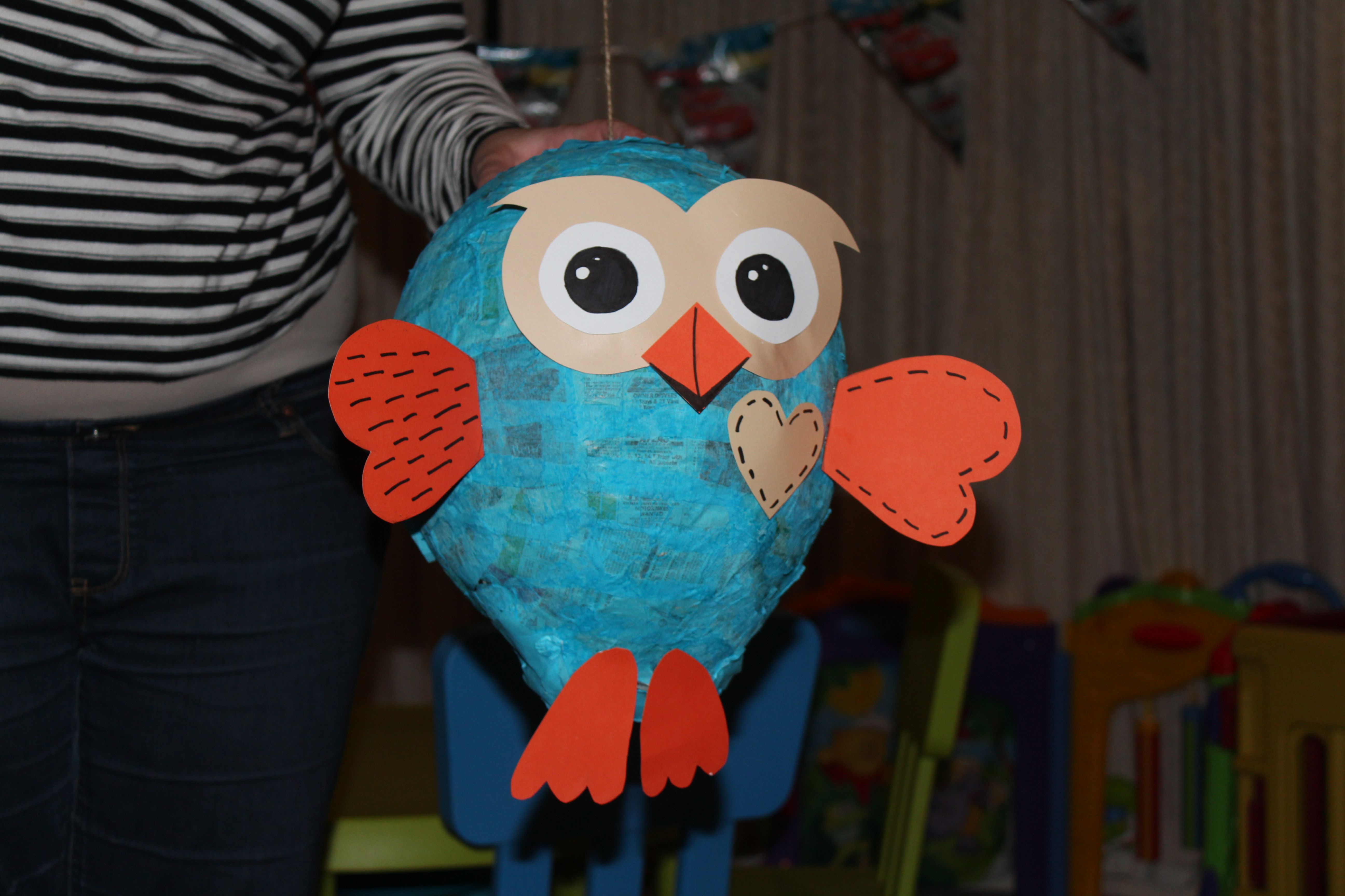 Hoot Pinata Made From A Balloon, Some Newspaper, Tissue Paper
