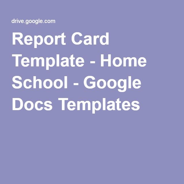 Report Card Template - Home School - Google Docs Templates