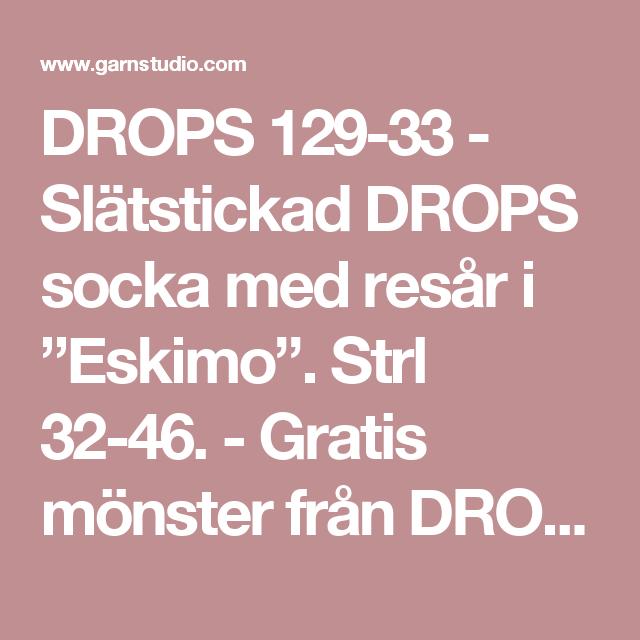 """DROPS 129-33 - Slätstickad DROPS socka med resår i """"Eskimo"""". Strl 32-46. - Gratis mönster från DROPS Design"""