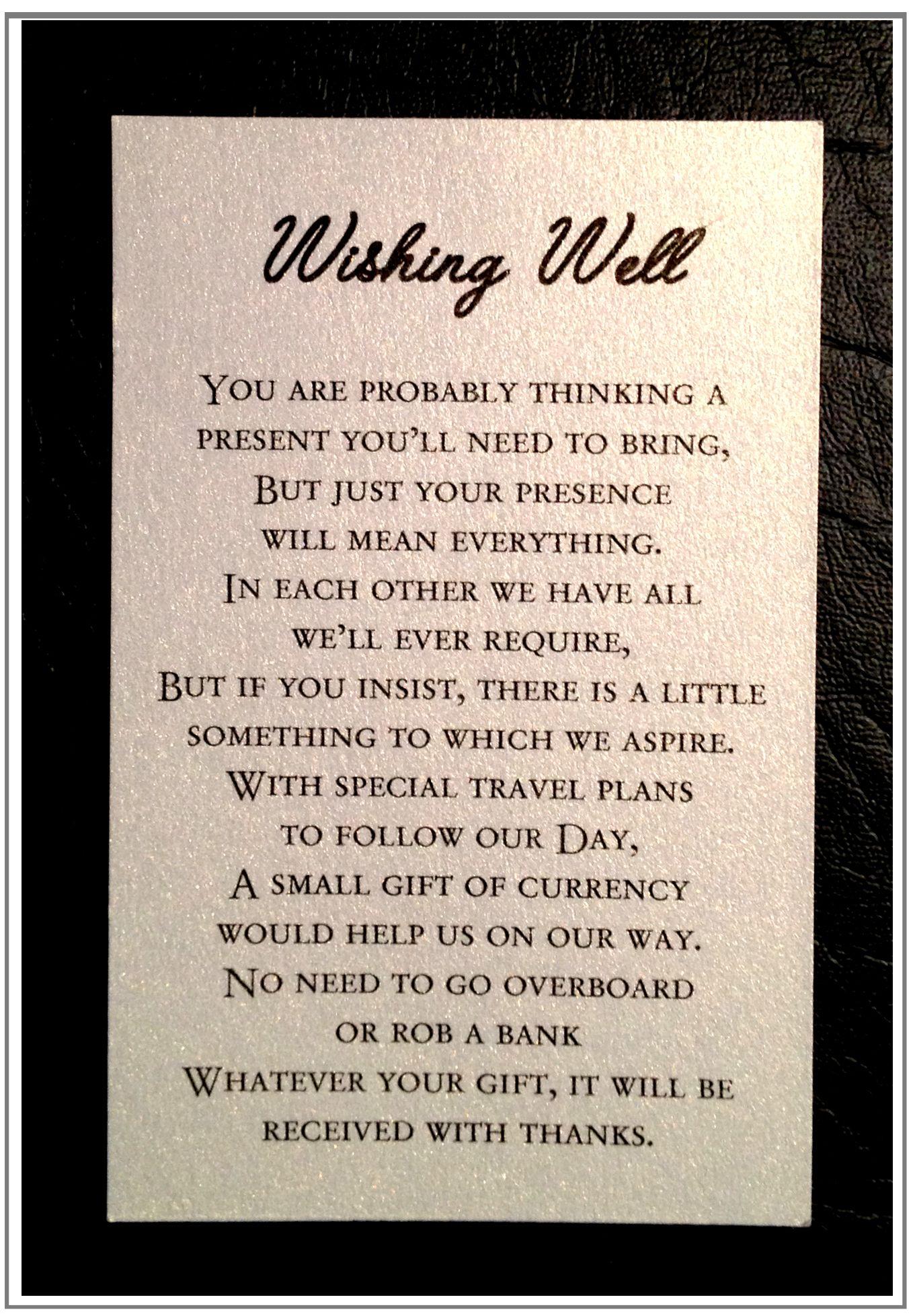 Wedding Poem Wishing Well