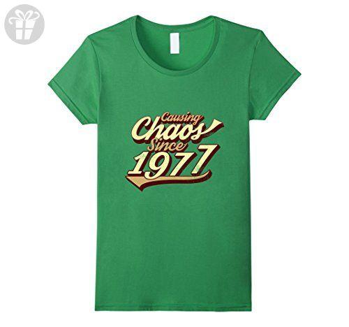 Womens Causing Chaos Since 1977 T-Shirt Special 40th Birthday Shirt XL Grass - Birthday shirts (*Amazon Partner-Link)