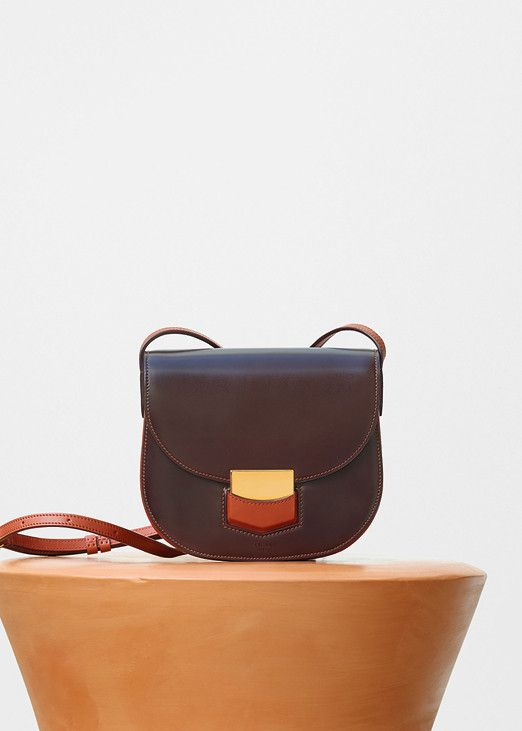 Small Trotteur Shoulder Bag in Burgundy Bicolour Glazed Calfskin - Céline 0cae0873f6a79