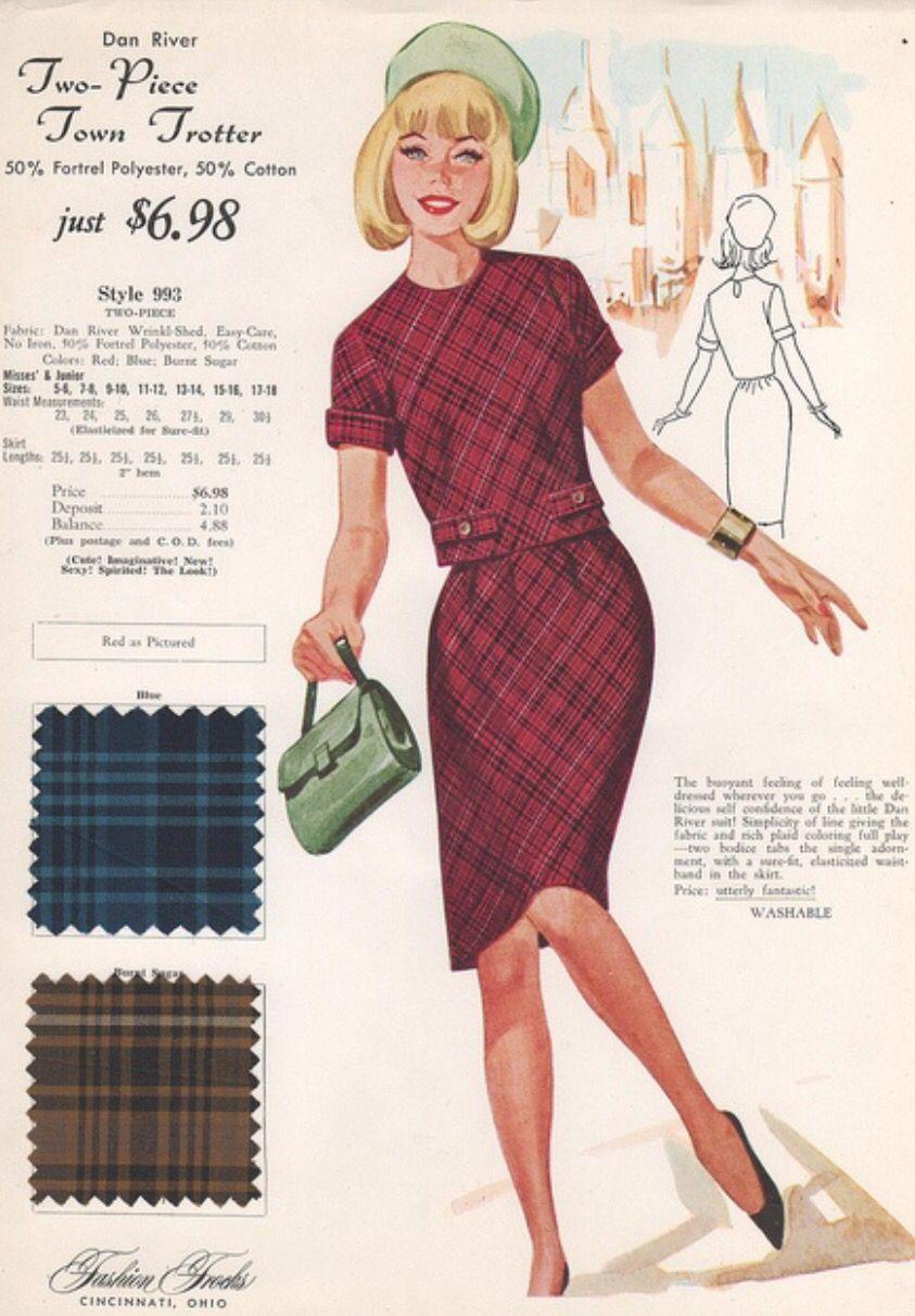 Vintage Plaids Fashion 1960s Fashion Vintage Fashion