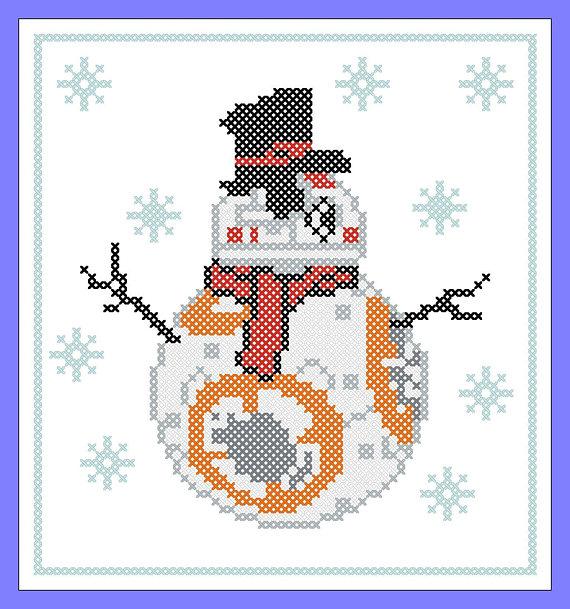 BOGO FREE Merry Christmas FUNNY Snowmаn Droid BB40 Star Wars Cross Inspiration Funny Cross Stitch Patterns Free