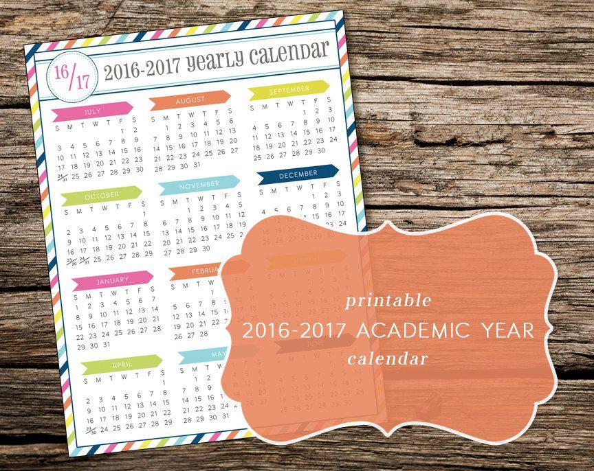 Printable 2017-2018 Academic Year-at-a-Glance Calendar - sample academic calendar