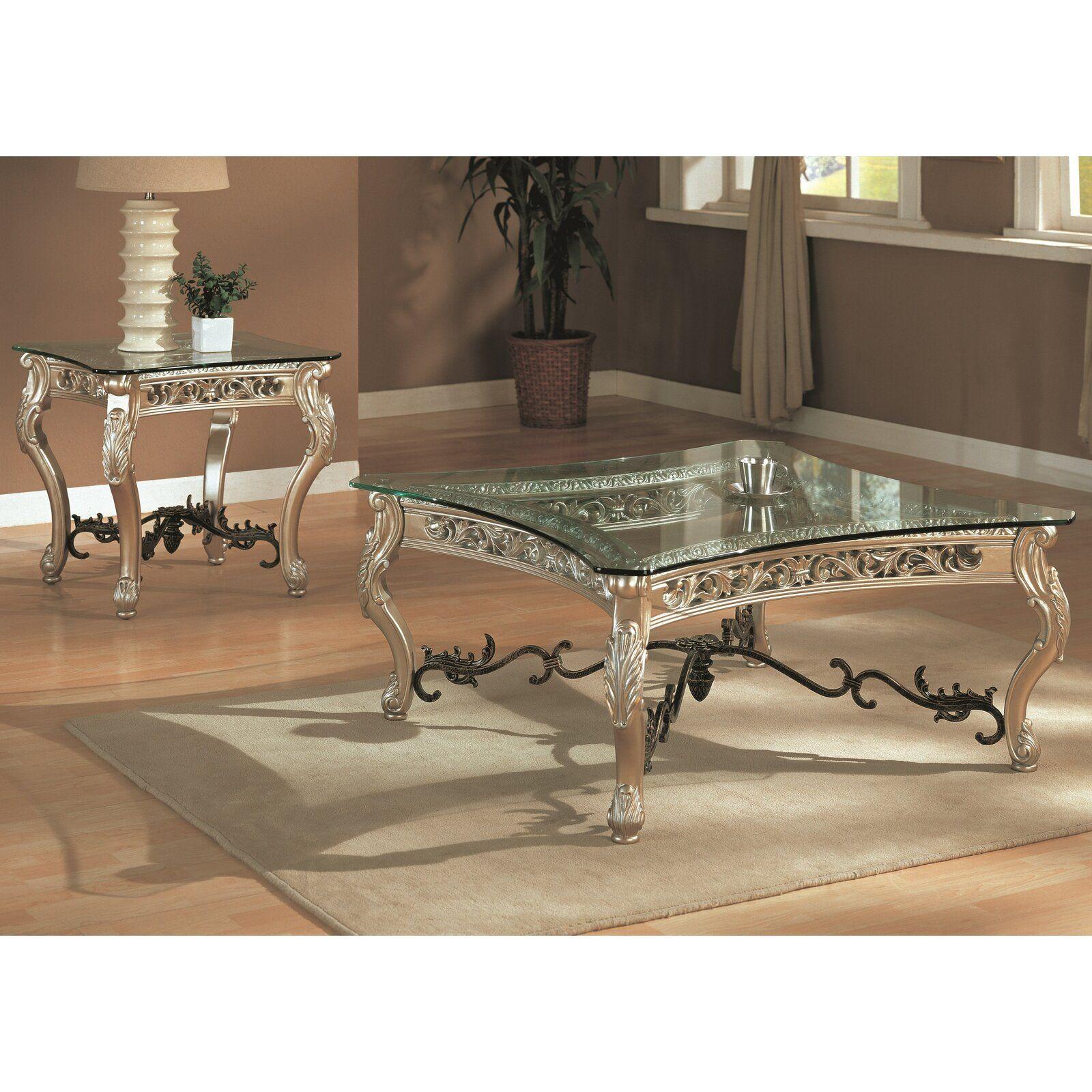 Astoria grand sloane end table glass table set living