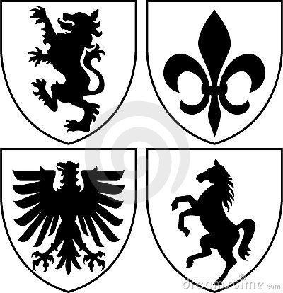 Illustration Of Heraldic Crests Or Family Coat Of Armseps