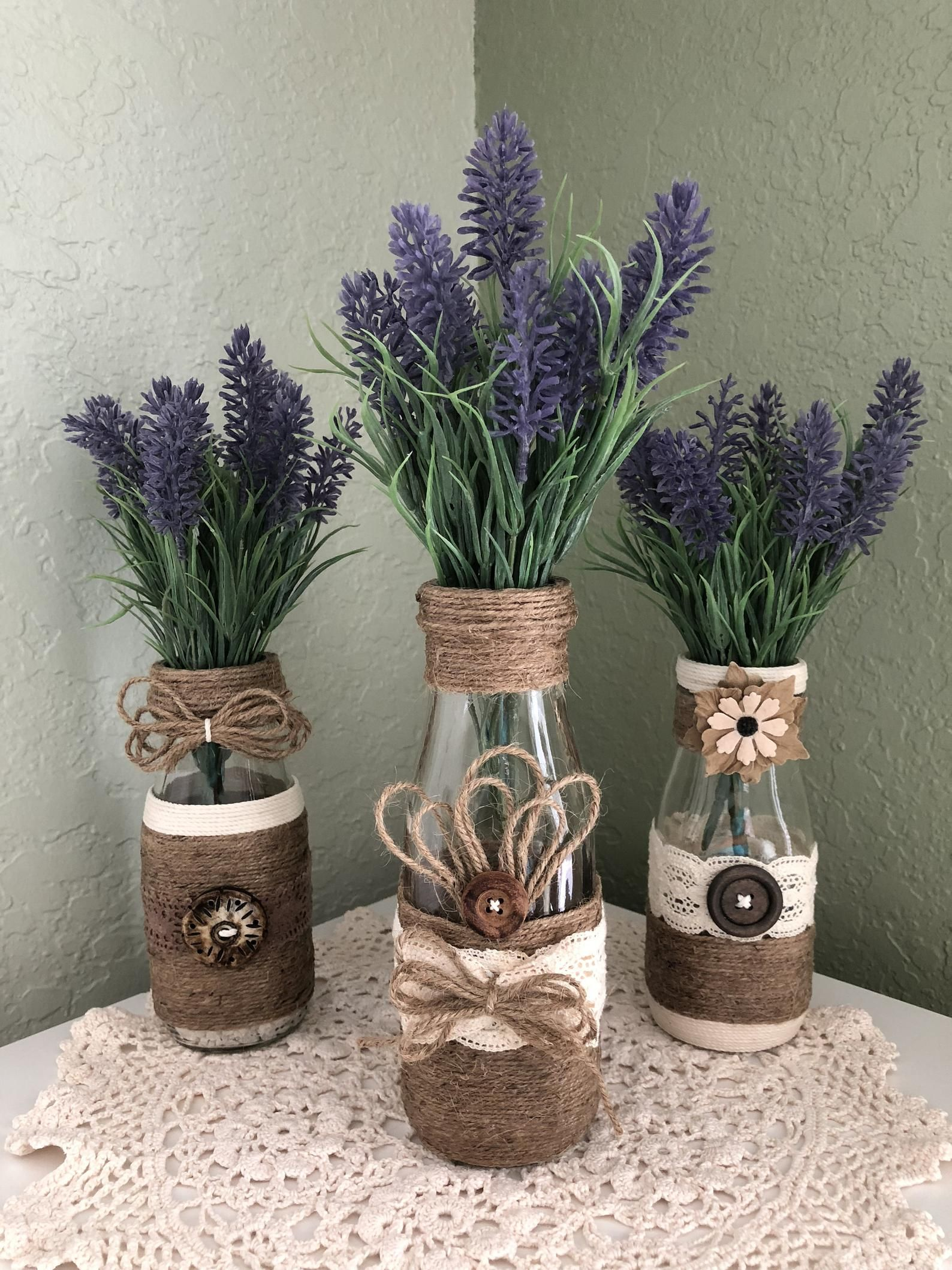 Decorative Wrapped Bottles, Twine~Jute~Burlap~Wood Buttons~Lavender  Florals, Dairy Bottles, Set of 3, Quality Crafted~Farmhouse~Wedding~Home |  Bouteilles décoratives, Décoration de bocaux, Emballage de bouteille