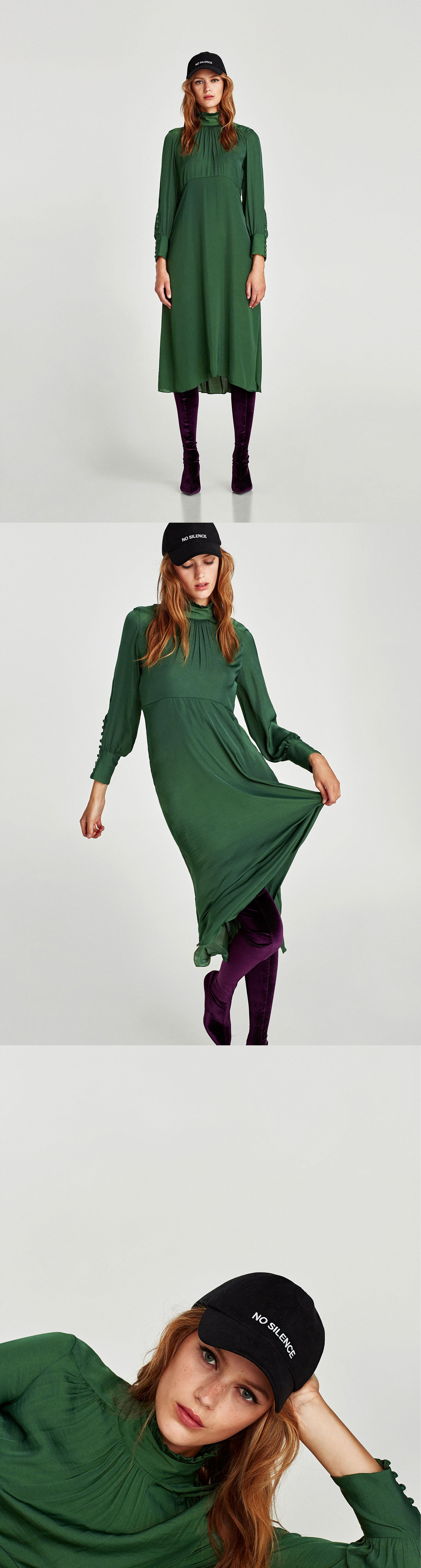 0df3a54d Flowing Midi Dress With Long Sleeves // 89.90 USD // Zara // Flowing midi  dress with high collar, long sleeves and lined buttons on the cuffs and on  the ...