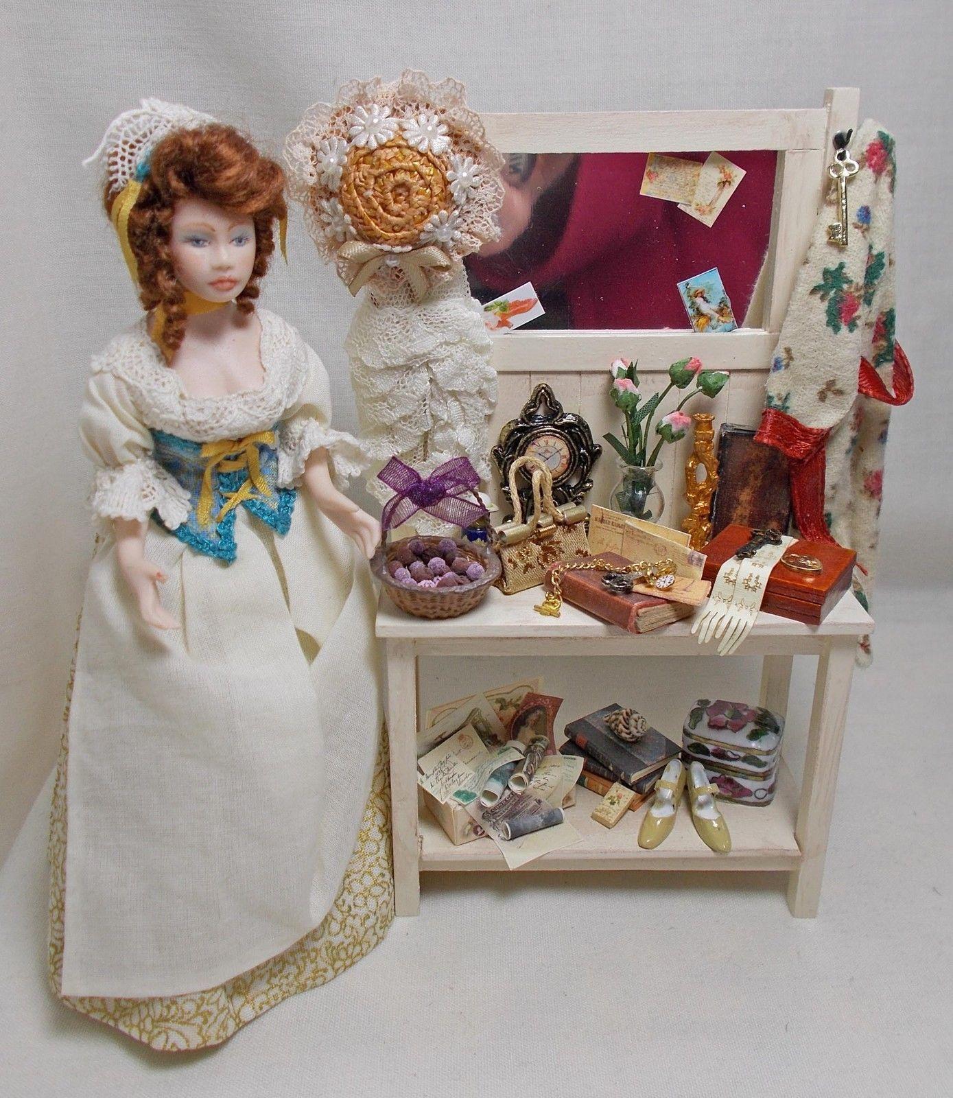 Dolls house miniature Aged Cream Filled Hallstand