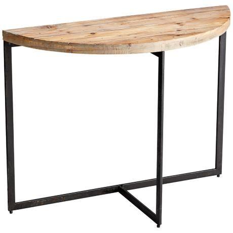 taro half-circle natural wood console table - #2j331   lampsplus