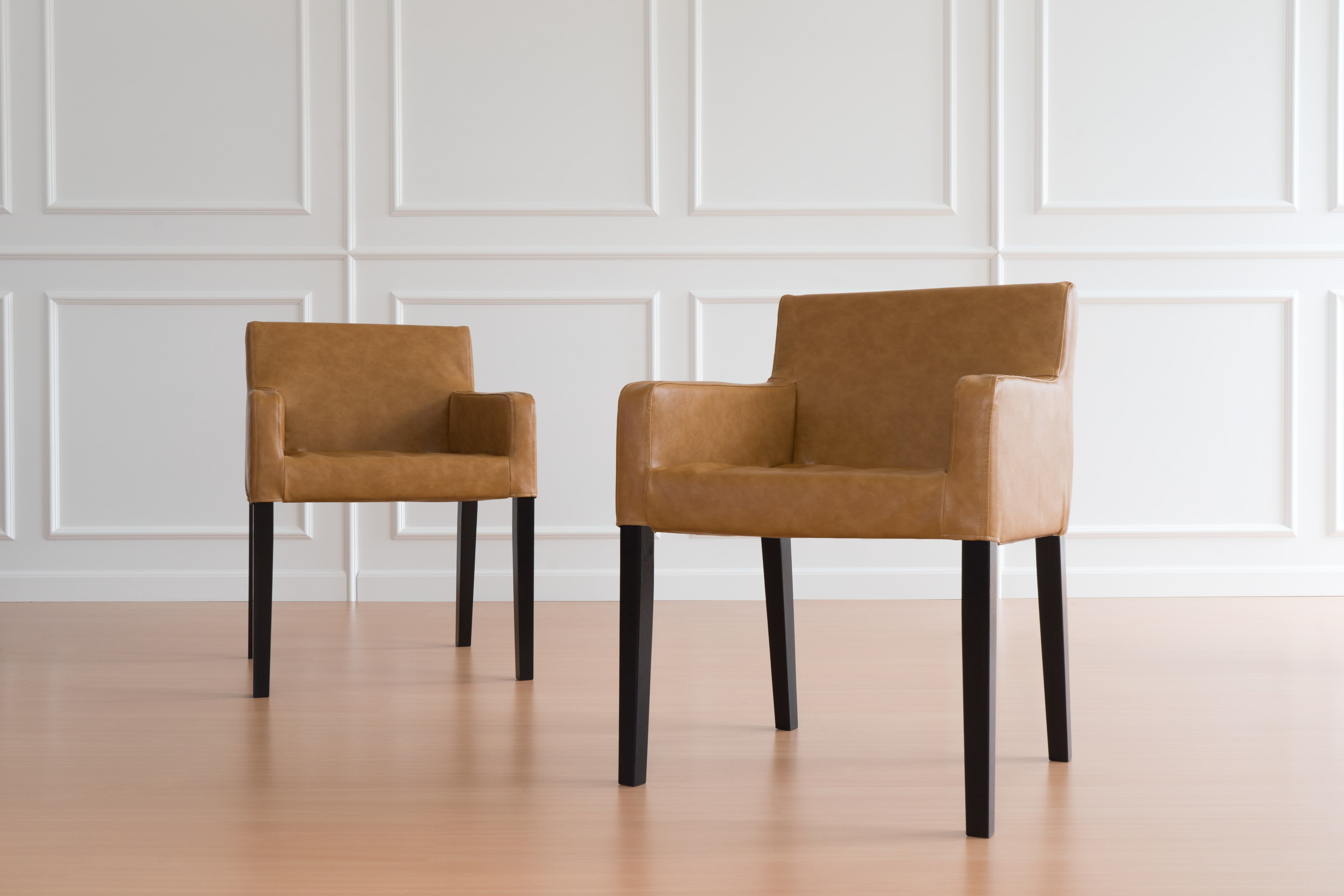 Ikea Nils Dining Chair covers in caramel/tan leather