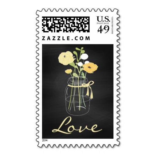 Chalkboard Mason Jar Love Stamps