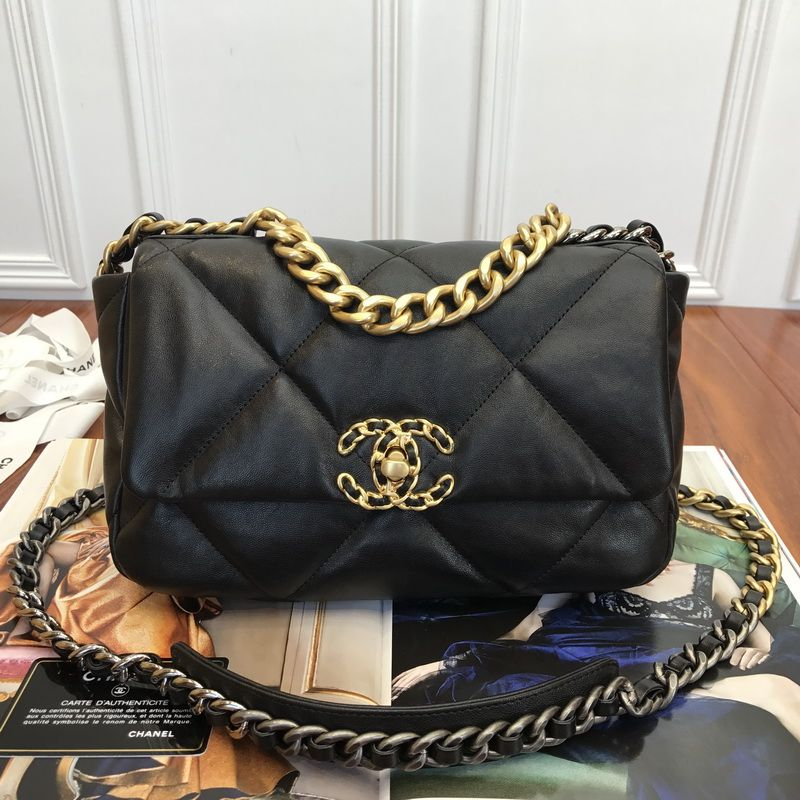 Chanel 19 black lambskin flap bag with gold silver