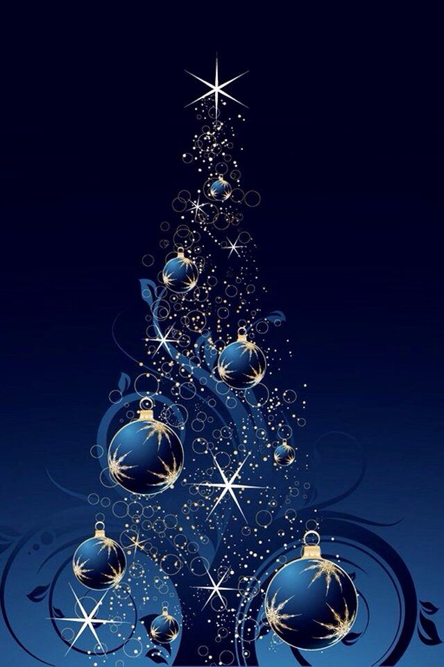 Christmass Tree With Blue Gold Balls Art Wallpaper Iphone Christmas Blue Christmas Tree Christmas Card Background