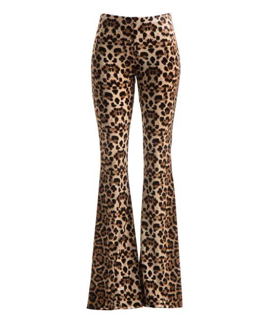 Brown Leopard Wide-Leg Pants