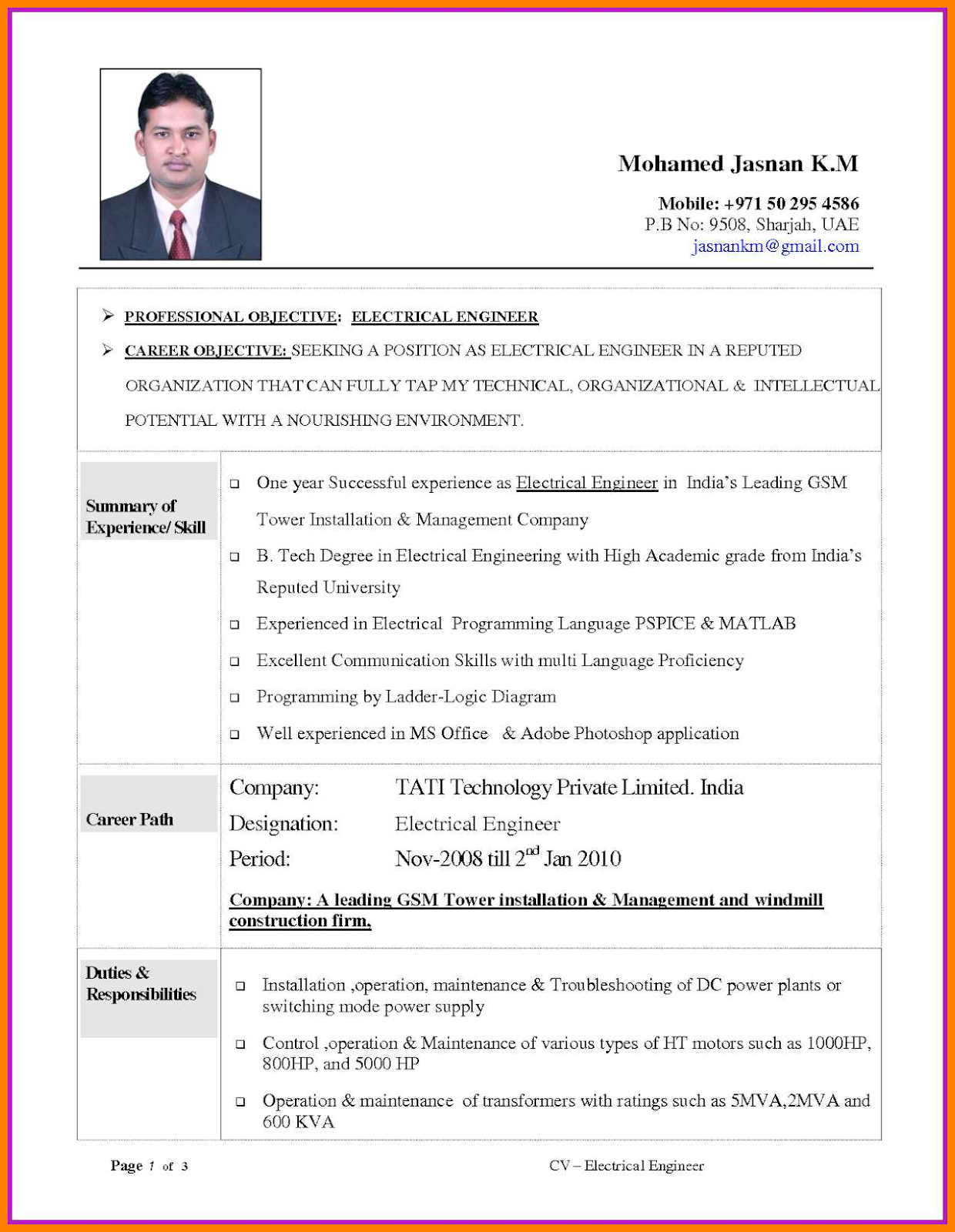 Mechanical Engineering Cv Format Mechanical Engineering Cv Format For Fresher Pdf Mechanical Engineering Resume Engineering Resume Templates Resume Examples