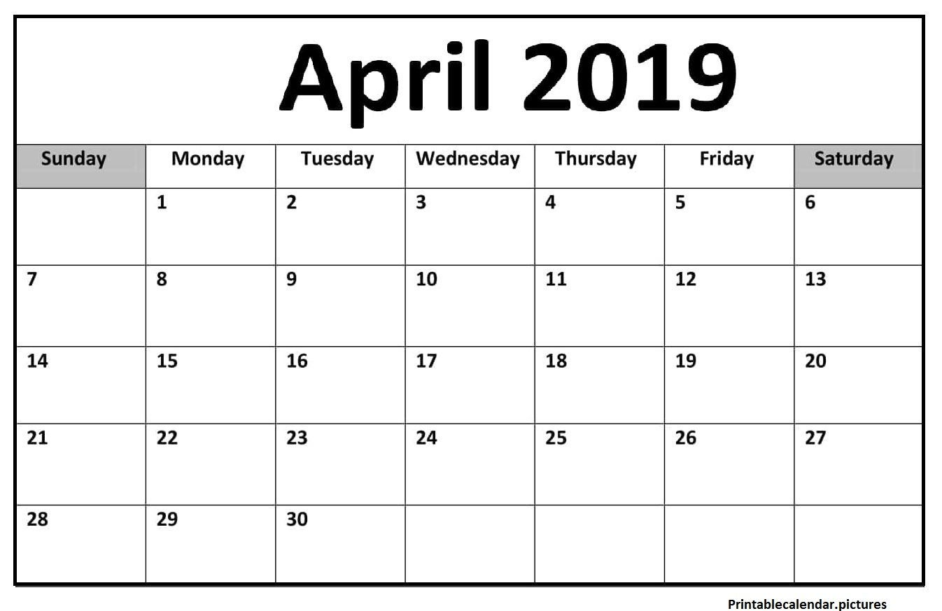 Blank Monthly Calendar Pages April 2019 Printable Template