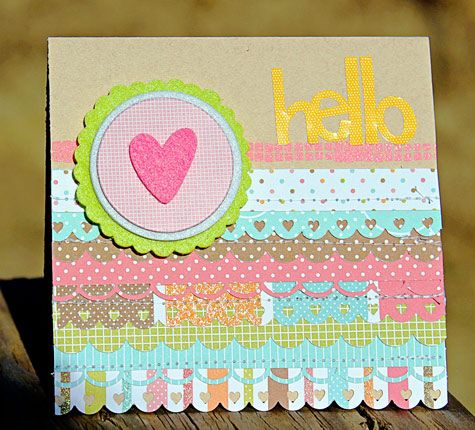 Hello Card by Melissa Mann -- using American Crafts Knock Outs Border Punches.