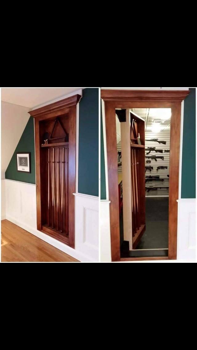 Great idea for hidden gun room in