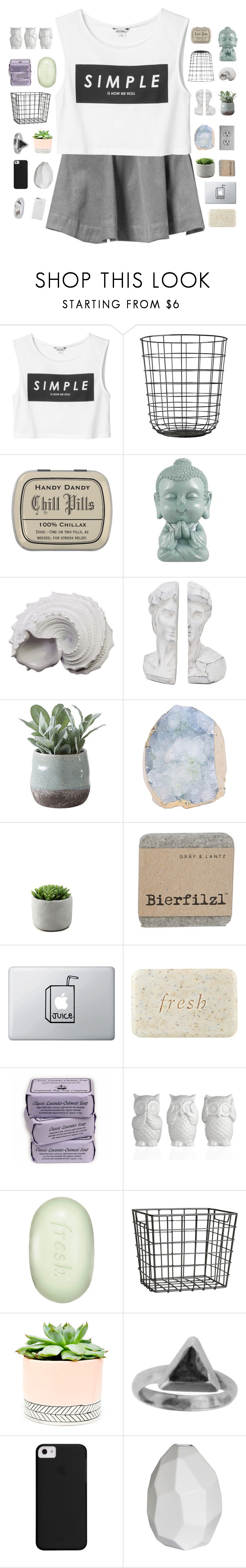 """""""how we roll"""" by abbeyso ❤ liked on Polyvore featuring Monki, Urban Trends Collection, Torre & Tagus, Fresh, H&M, Hostess, Zoemou, CB2 and Case-Mate"""