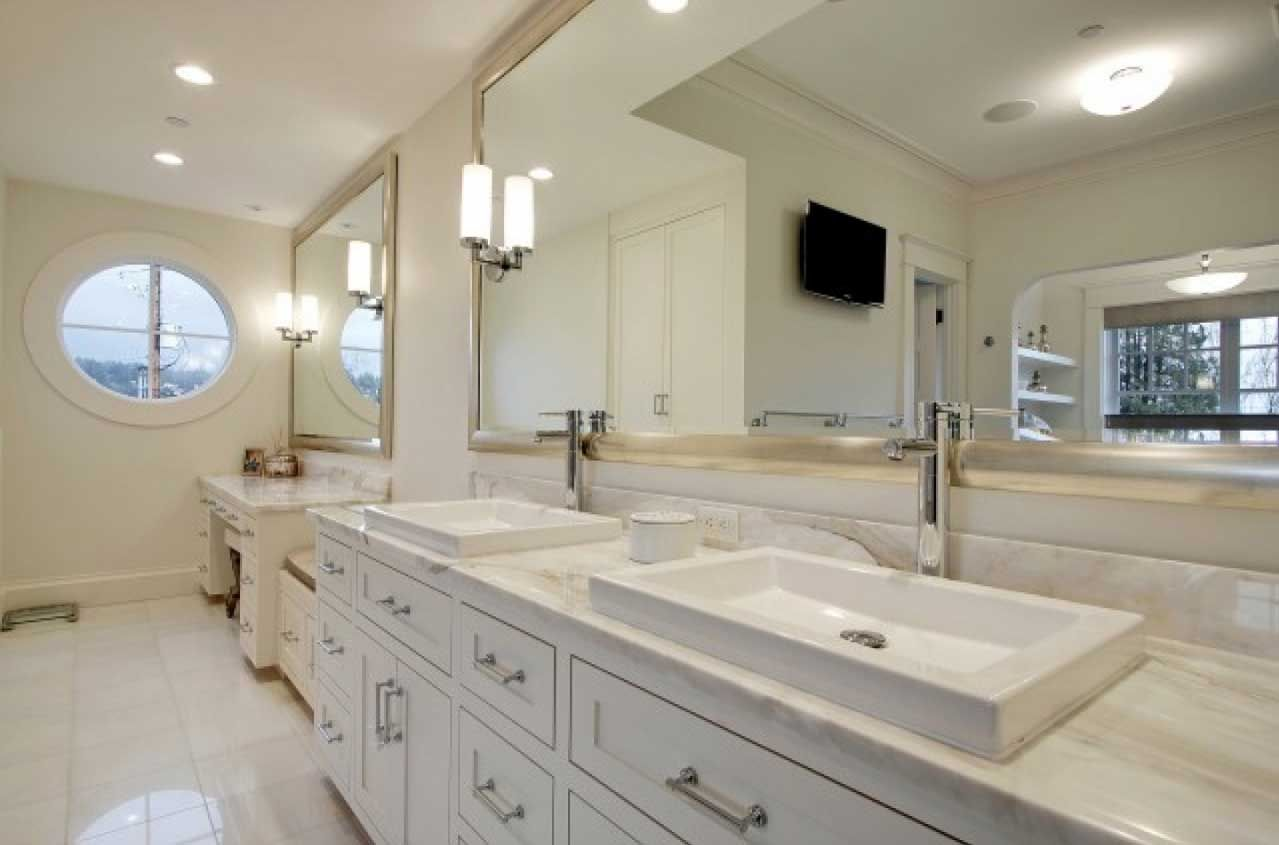 Large Bathroom Wall Mirror With Silver Framed Combine White Cabinet Vanities Home Interior
