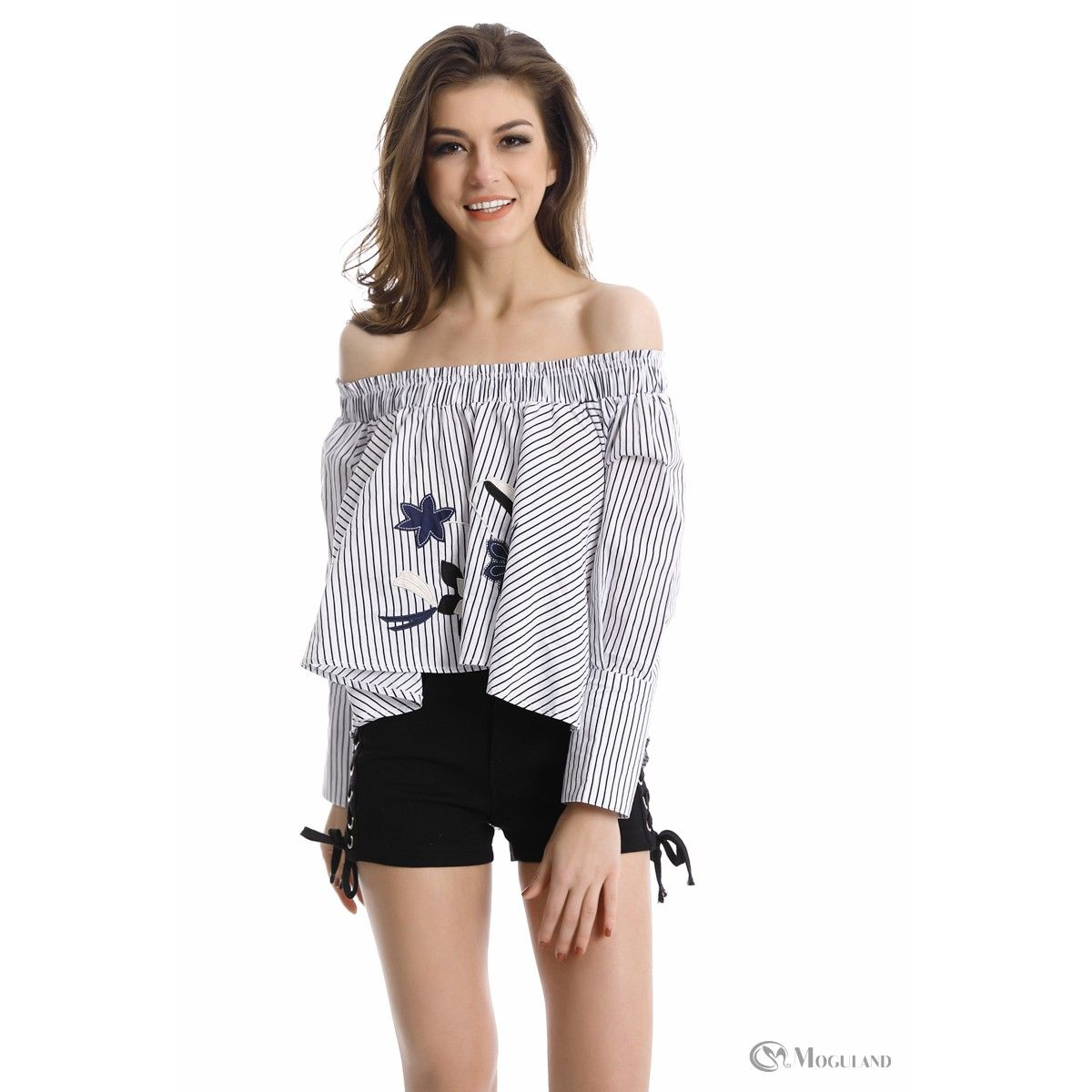 2db7eb9acd7 black and white stripe embroidered off the shoulder top front | Tops ...