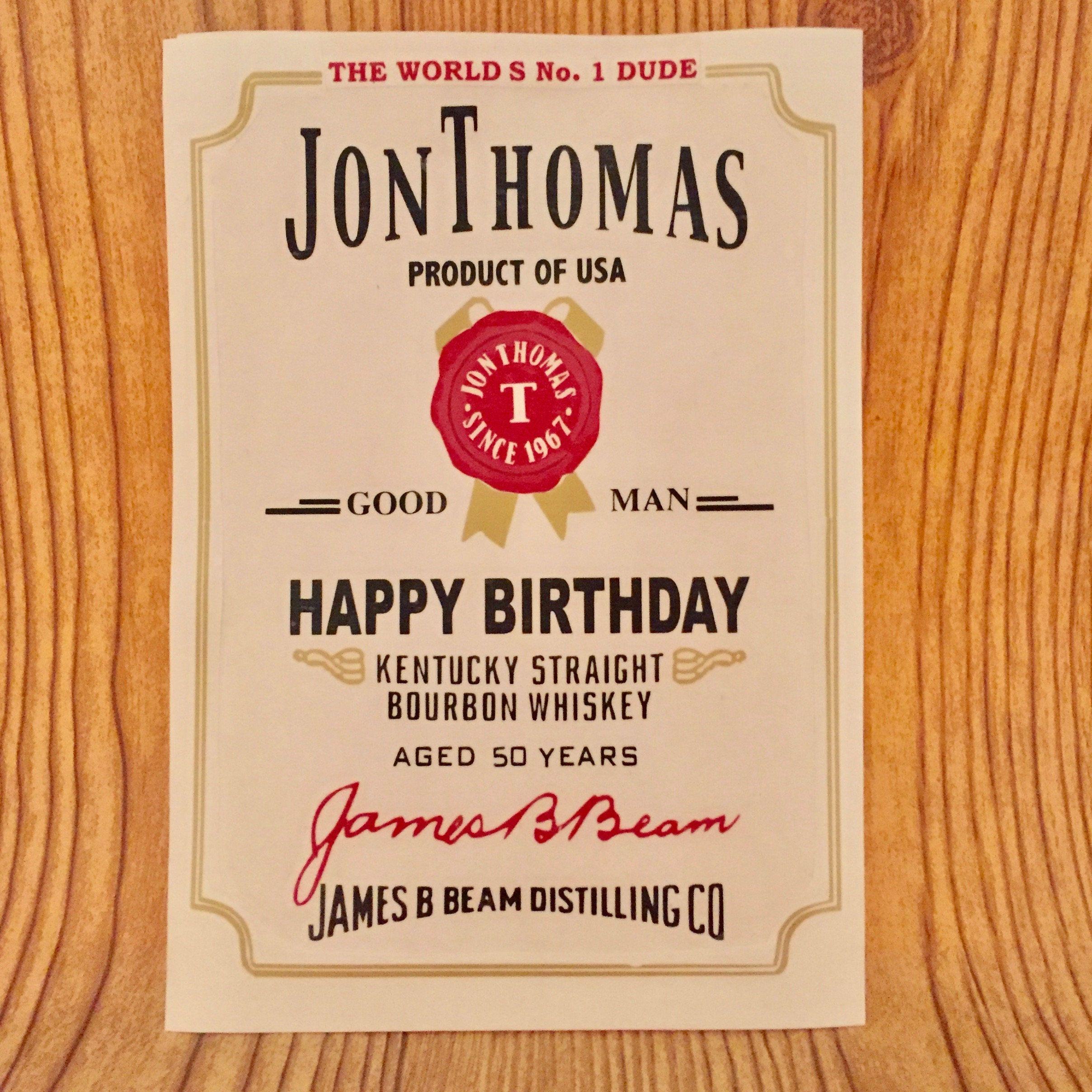 Personalized Jim Beam Label Inspired Decal For Birthdays Bestman Groomsman Etc By Tmangstreasures On Etsy Jim Beam Personalised Gin Beams