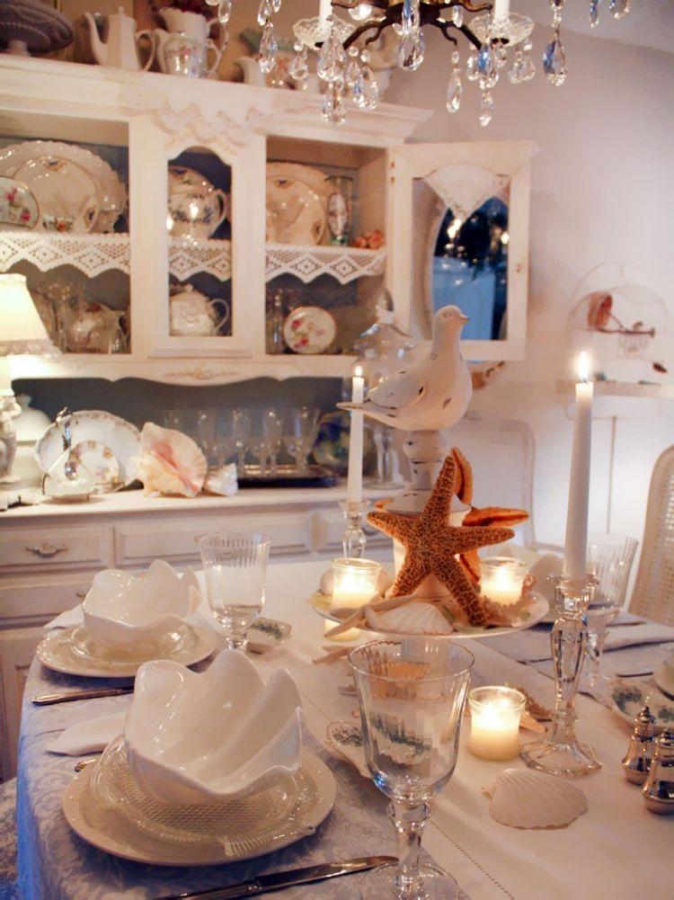 Maritime Deko  Ideen Tischdekoration  Esstisch Seestern Kerzen Muschel Schuessel