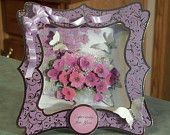 Shadow Box Card, 3D Floral Card & Butterflies - Birthday - Mother's Day - Anniversary