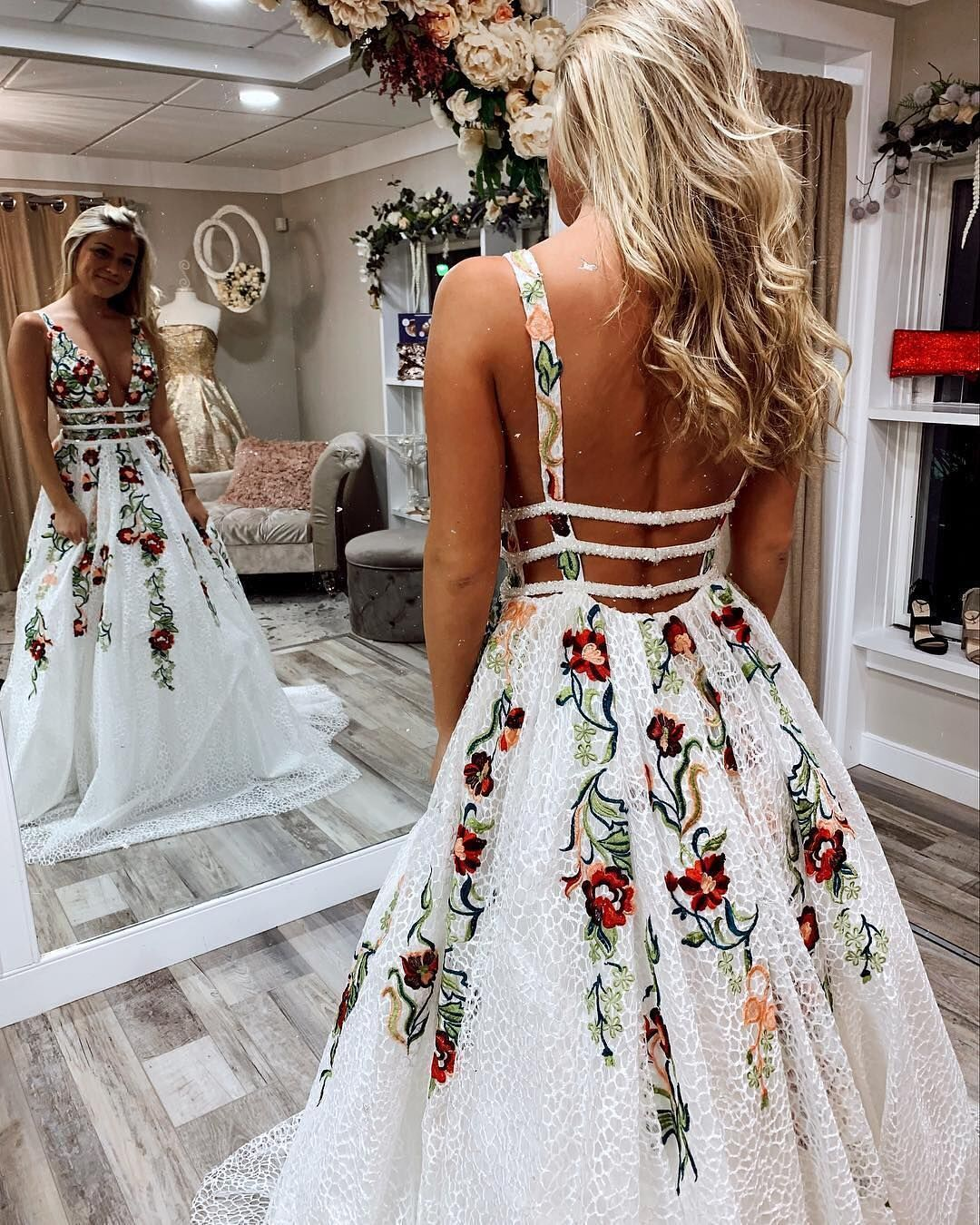 cc699af1c43da Princess A-line White Long Prom Dress with Floral Embroidery  prom  dress
