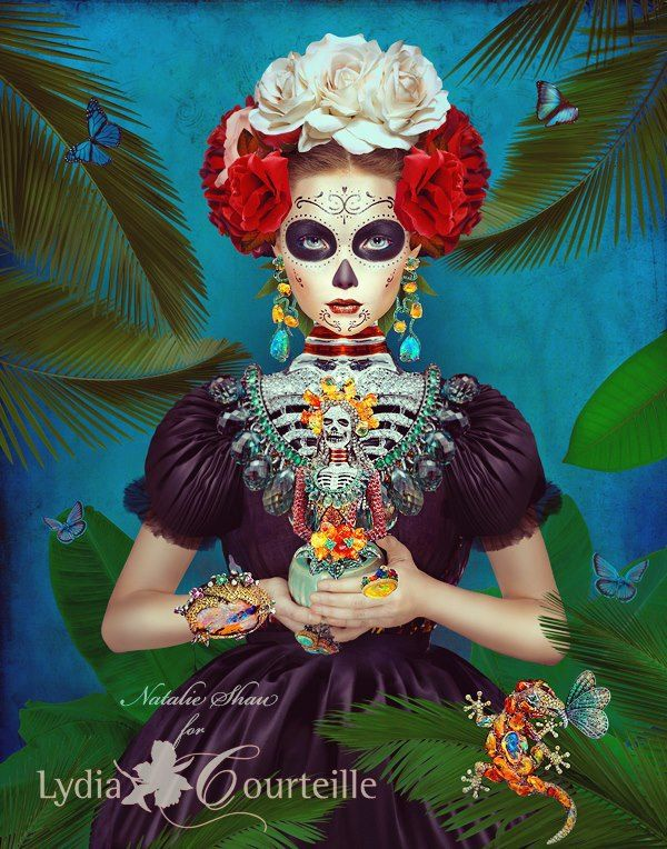 """GFR Illustrator/Photographer Natalie Shau's brand new advertising campaign for Parisian jeweler Lydia Courteille. """"Xochimilco Garden"""" To see more of Natalie's work please go to:     http://www.gfr-nyc.com/natalie-shau    #NatalieShau #Illustrator #photography #LydiaCourteille #Jewelry #advertising #fashion #illustration #art #creative"""