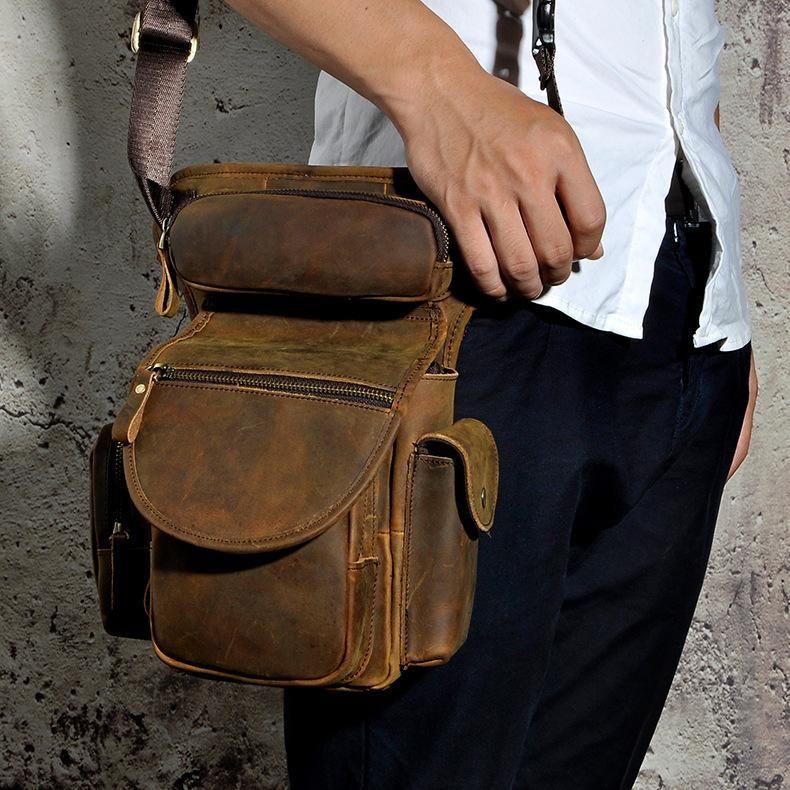 1d59f23ae5e Leather drop leg bag belt pouch mens waist bag shoulder bag for men ...