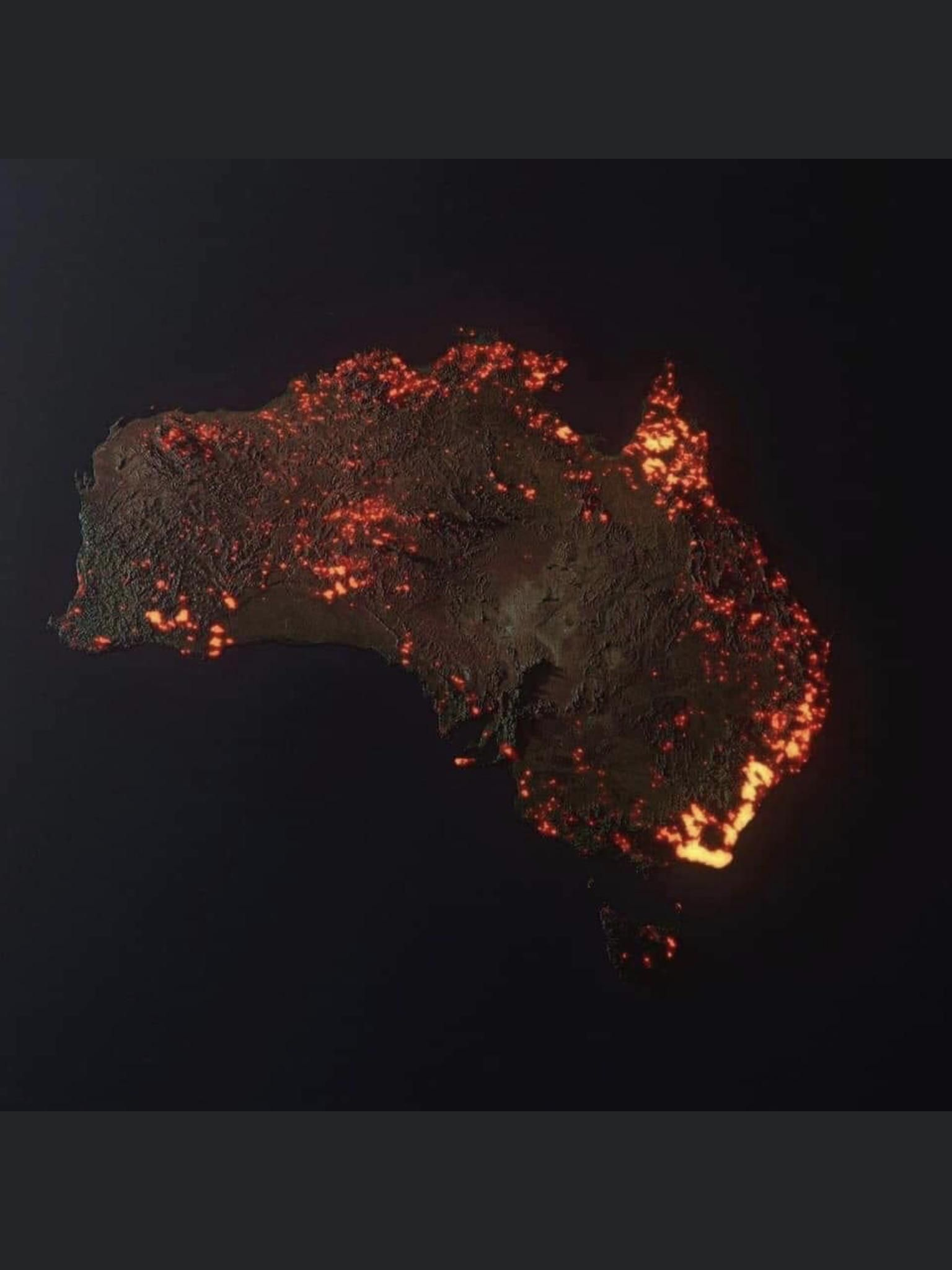 """""""3D """"visualisation"""" of the fires in Australia, made from"""