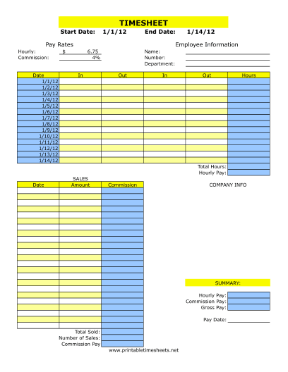Printable Time Card Template Timesheet With Commission Printable Time Sheets Free To Download .