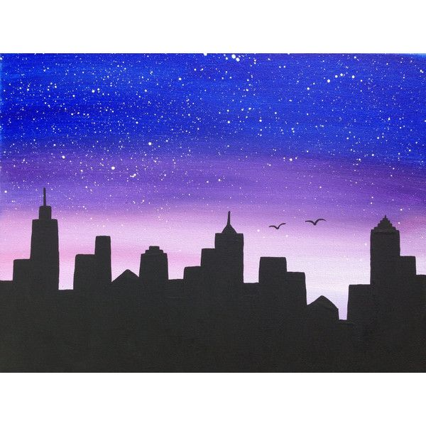Cityscape,night Scene,silhouette,16x20,black Painting,blue