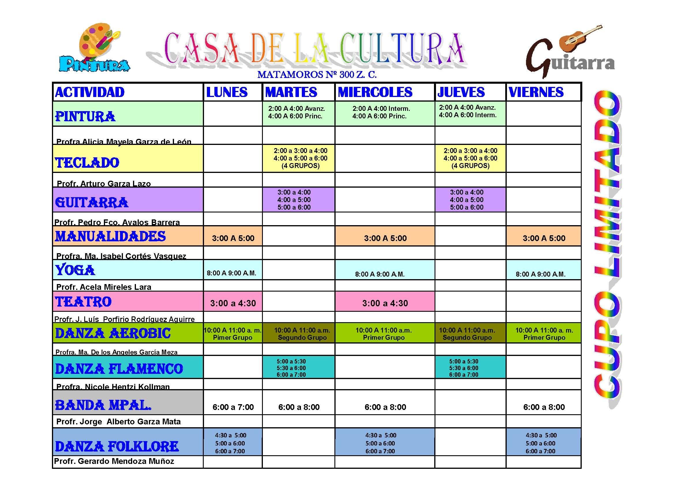 Horario De Clases Casa De La Cultura Matamoros Mx Spanish Classroom Teaching Spanish How To Speak Spanish