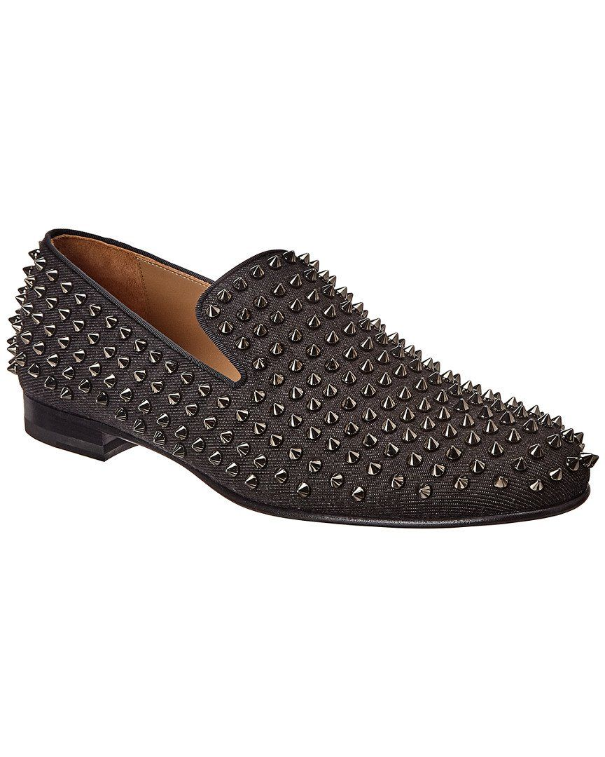 Christian Louboutin Roller Boy Spikes Loafer Loafers Loafers Black Red Sole [ 1080 x 864 Pixel ]