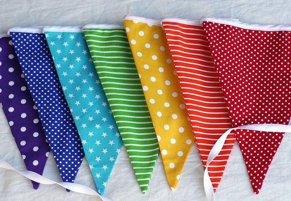 Rainbow Bunting Pennant Flags EXTRA LONG by FeltLikeCelebrating