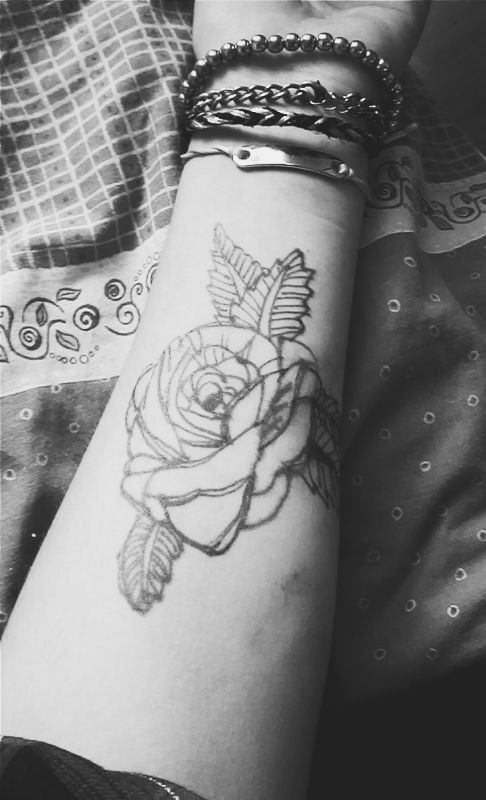 black and white rose tattoo on forearm - Google Search