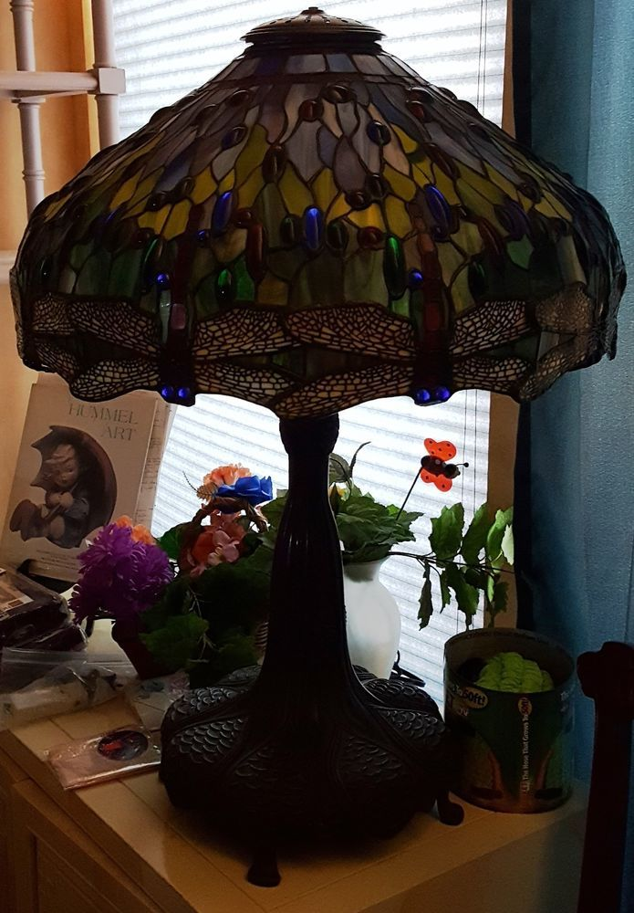 RARE Antique Tiffany Style Dragonfly Table Lamp #unknown #unknown